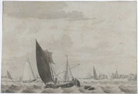 boats on a choppy river estuary by cornelis van noorde