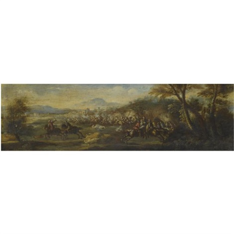 a landscape with cavalrymen by sauveur le conte