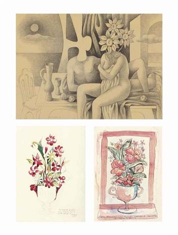 a.) la noche de los girasoles b.) untitled (flower vase 1) c.)untitled (flowers vase 2) (3 works) by mario carreño
