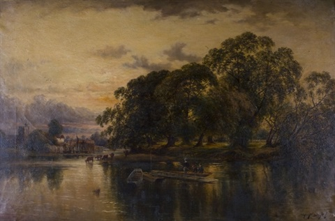 river scene with cattle grazing by john horace hooper