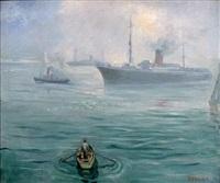 paquebot à vapeur dans le port d'alger by jean eugène bersier