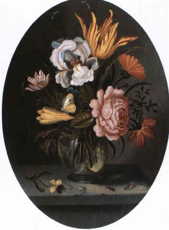 ein blumenstrauss mit tulpe iris und rose ine einer glasvase by abraham bosschaert