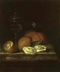 still life with glass of wine, lemons, oranges and oysters on a marble ledge by gaspar (smits, smith) smitz