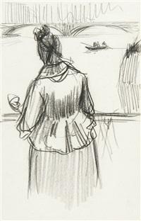 femme de dos sur un pont by henri evenepoel