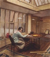 the artist's wife in the charlotte street studio by john miles bourne benson