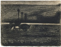 le tombereau au cheval broutant by georges seurat
