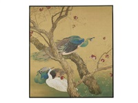 a peafowl and pomegranate barks two-fold screen by shuho ikegami