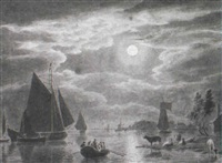 moonlit estuary views with shipping by cornelis van noorde