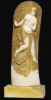 a carved and gilt ivory relief by serge yourievitch