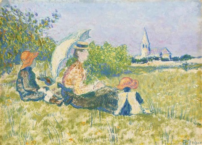 madame lemmen et ses enfants dans un jardin by georges lemmen