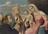 the madonna and child with saint peter and a donor by girolamo da santacroce