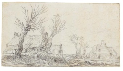 wide winter landscape with farm buildings by trees by jan josefsz van goyen