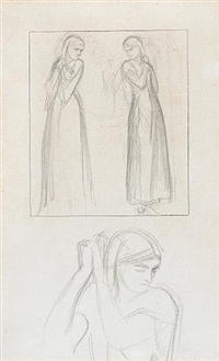 studies for the headpiece to the lady of shalott: the lady in three poses by william holman hunt