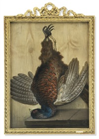a set of three tromp l'oeil depictions of hanging game birds (+ 2 others; 3 works) by samuel cotes