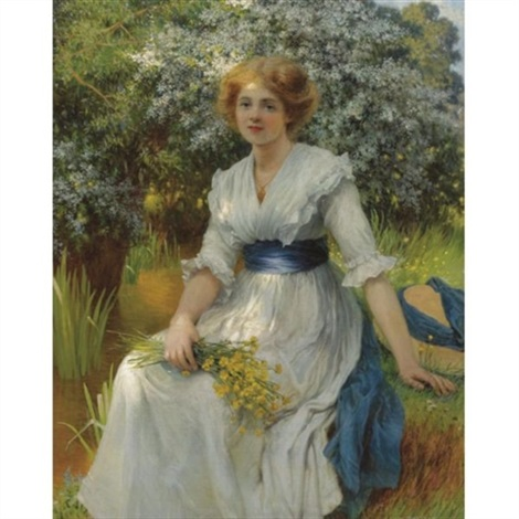 an elegant lady resting by w savage cooper