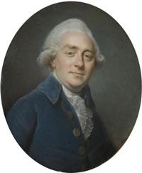 portrait en buste de simon-jérôme bourlet de vauxcelles vêtu d'une veste bleue by pierre davesne