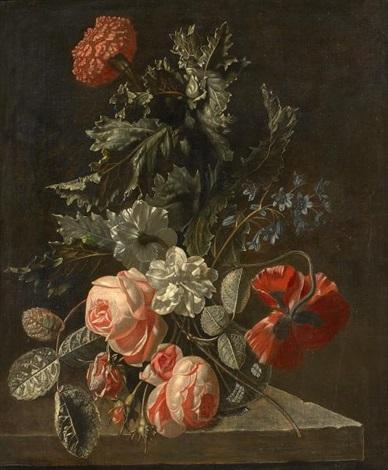 blumenstillleben mit rosen und mohn by simon pietersz verelst