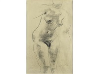 female nude study by frank dobson