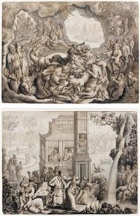 peuples chinois observant des animaux fantastiques (+ scène de pillage, sur fond de décor asiatique; 2 works) by a. senegat