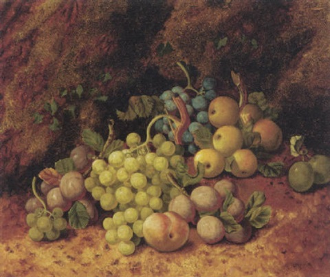 plums apples grapes and a peach on a mossy bank by henry j livens