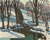 winter morning, cold creek by frederick stanley haines