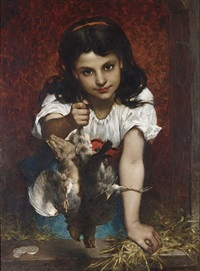 a girl with birds by pierre louis de coninck