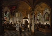 interior of a protestant church by petrus schotanus