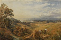 harvesting near box hill, surrey by george lucas