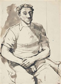 seated man by john minton