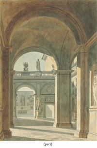 view of the courtyard of palazzo mattei, rome, with statues and antique reliefs (+ view of the interior of the church of san lorenzo fuori le mura, rome; 2 works) by charles percier