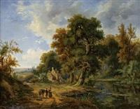 bewaldete landschaft mit see und staffagefiguren by alfred leon lemeunier
