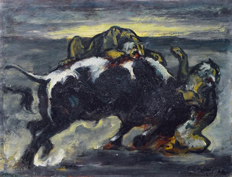 a bull fighting against two tigers by leo von könig