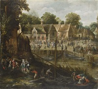 a village kermesse with elegant figures entering boats by pieter van der hulst the younger