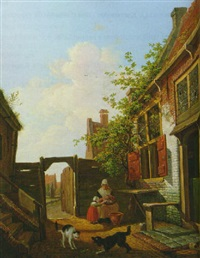 a sunlit courtyard with mother and child peeling vegetables by francois joseph pfeiffer the younger