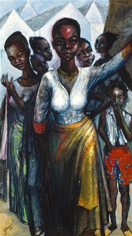 girls in waiting by ben enwonwu