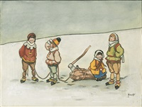 four children in winter by john hassall