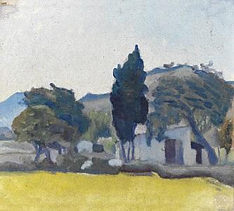 landskap med gult fält by ivan agueli