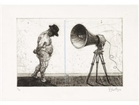 man with megaphone by william kentridge