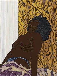 looking up - she works hard for the money pin-up series by mickalene thomas