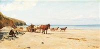 shore scene with cockle carts by otto weber