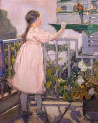 fillette au perroquet (small girl with a parrot) also known as sur le balcon (on the balcony) by bessie ellen davidson