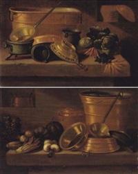 stilleben mit kupfergeschirr und gemüse by e.r. lautter