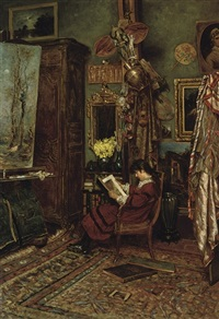 the artist's studio by william john hennessy