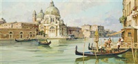 boarding a gondola at the entrance to the grand canal, santa maria della salute beyond by angelo brombo