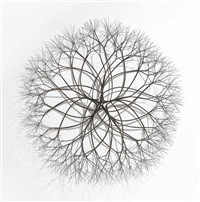untitled (s.118, wall-mounted, tied wire, open center, five-branched, form based on nature) by ruth asawa