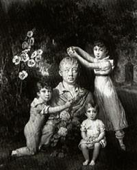 enfants couronnant un buste by henri-joseph hesse