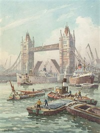 busy thames view with tower bridge by george ayling