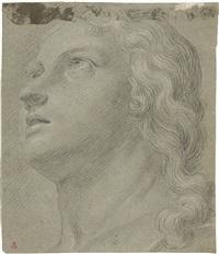 studio per una testa femminile, recto, e figura maschile con panneggio, verso by carlo maratta
