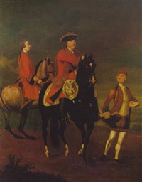 equestrian portrait of augustus, duke of cumberland, with an aide de camp, and a highland servant by david morier