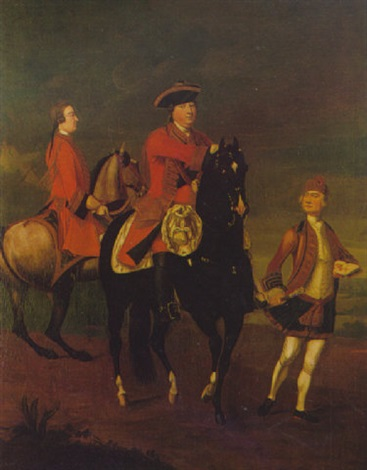 equestrian portrait of augustus duke of cumberland with an aide de camp and a highland servant by david morier